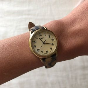 Timex leopard print leather watch with gold